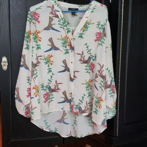 Beautiful hummingbird tropical blouse